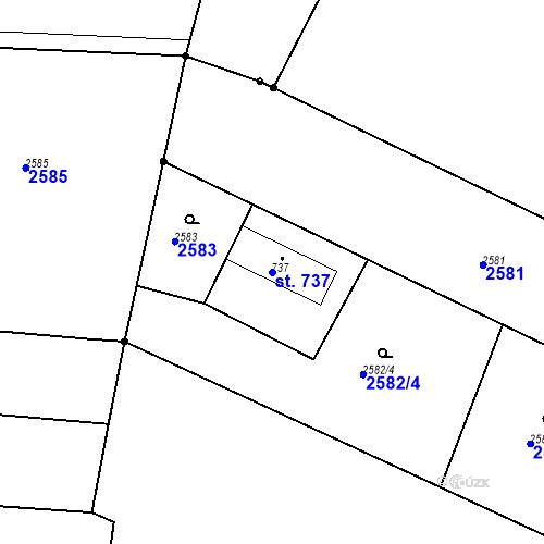 Katastrální mapa Parcela 737 na katastrálním území Chrudim