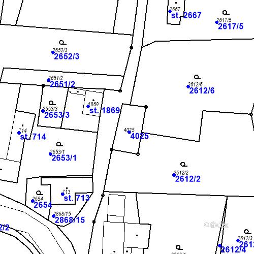 Katastrální mapa Parcela 715 na katastrálním území Chrudim