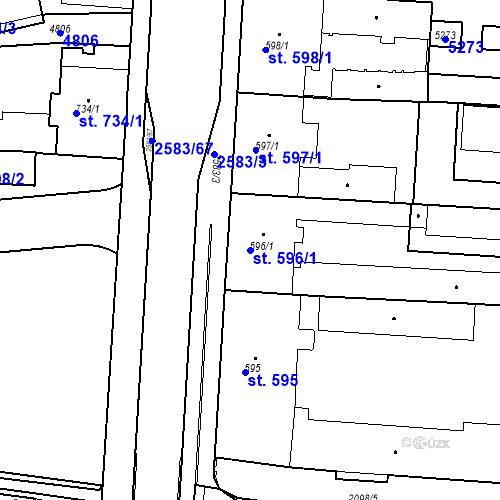 Katastrální mapa Parcela 596/1 na katastrálním území Pardubice