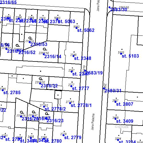Katastrální mapa Parcela 2347 na katastrálním území Pardubice
