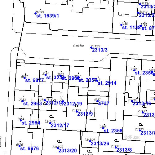 Katastrální mapa Parcela 2357 na katastrálním území Pardubice