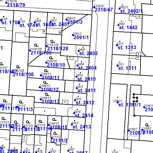 Katastrální mapa Parcela 2410 na katastrálním území Pardubice