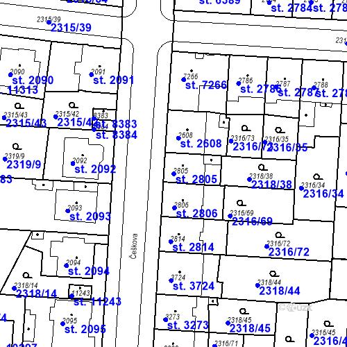 Katastrální mapa Parcela 2805 na katastrálním území Pardubice
