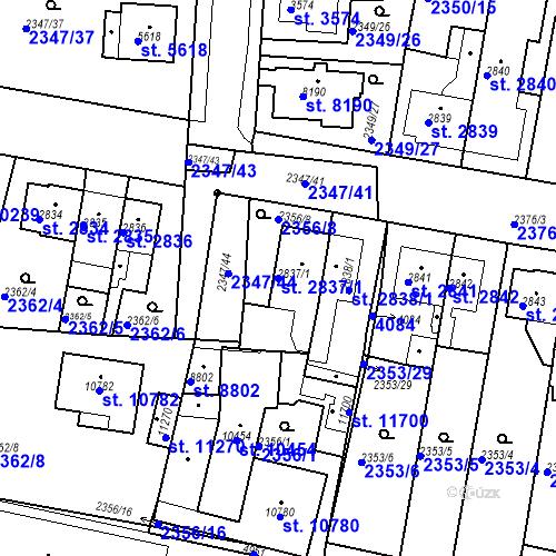 Katastrální mapa Parcela 2837/1 na katastrálním území Pardubice