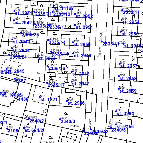 Katastrální mapa Parcela 2948 na katastrálním území Pardubice