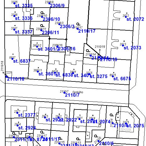 Katastrální mapa Parcela 3401 na katastrálním území Pardubice