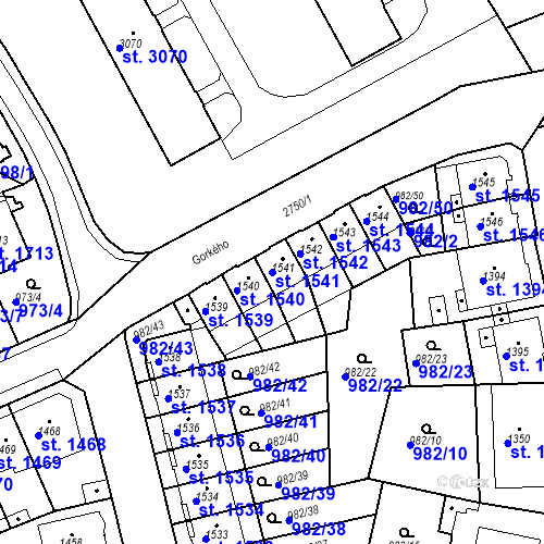 Katastrální mapa Parcela 1541 na katastrálním území Chrudim