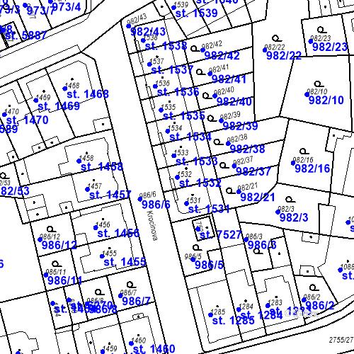 Katastrální mapa Parcela 1532 na katastrálním území Chrudim