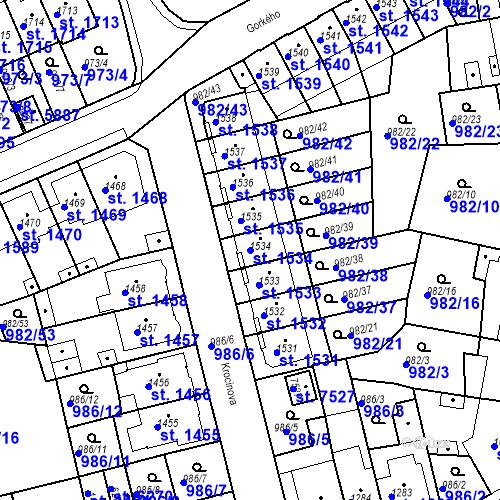 Katastrální mapa Parcela 1534 na katastrálním území Chrudim