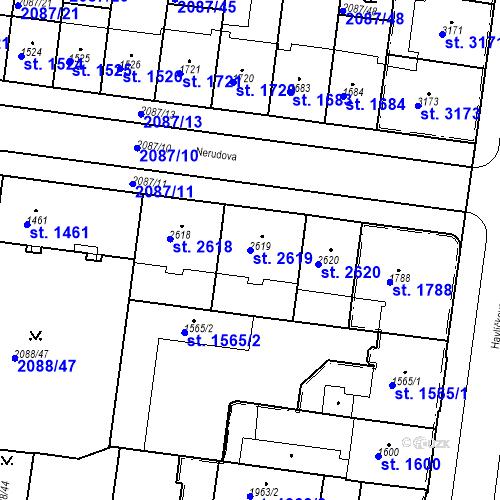 Katastrální mapa Parcela 2619 na katastrálním území Pardubice