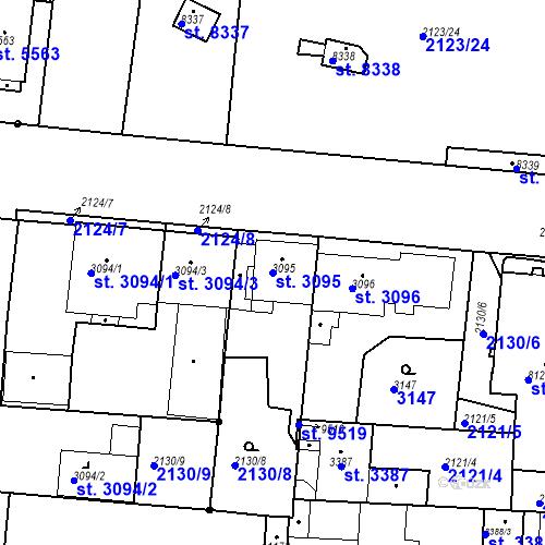Katastrální mapa Parcela 3095 na katastrálním území Pardubice