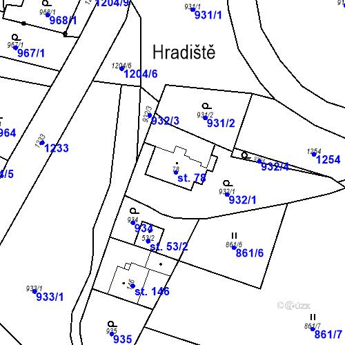 Katastrální mapa Parcela 78 na katastrálním území České Lhotice