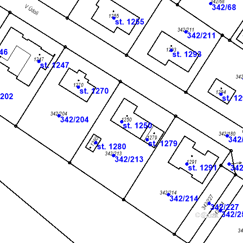 Katastrální mapa Parcela 1250 na katastrálním území Ždírec nad Doubravou