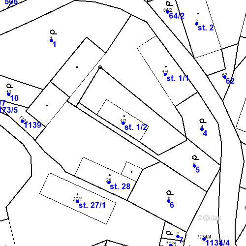 Katastrální mapa Parcela 1/2 na katastrálním území České Lhotice