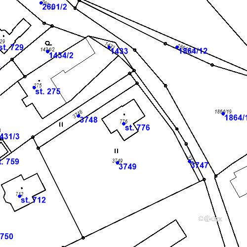 Katastrální mapa Parcela 776 na katastrálním území Horní Branná