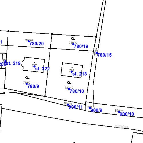 Katastrální mapa Parcela 218 na katastrálním území Šárovcova Lhota