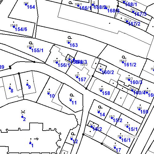 Katastrální mapa Parcela 157 na katastrálním území Chotěboř