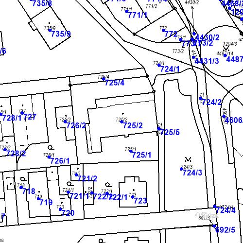 Katastrální mapa Parcela 725/2 na katastrálním území Chotěboř