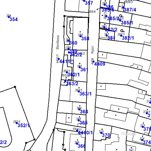 Katastrální mapa Parcela 362 na katastrálním území Chotěboř