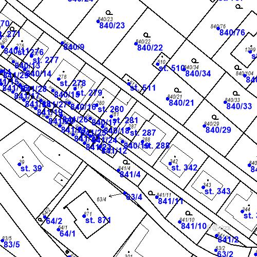 Katastrální mapa Parcela 287 na katastrálním území Luka nad Jihlavou