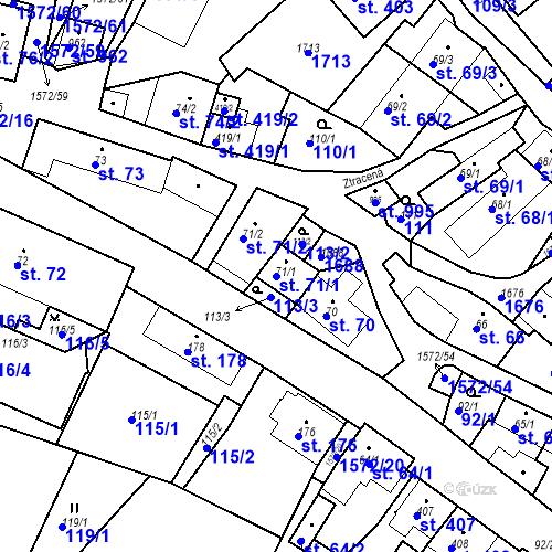 Katastrální mapa Parcela 71/1 na katastrálním území Luka nad Jihlavou