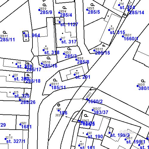 Katastrální mapa Parcela 291 na katastrálním území Luka nad Jihlavou