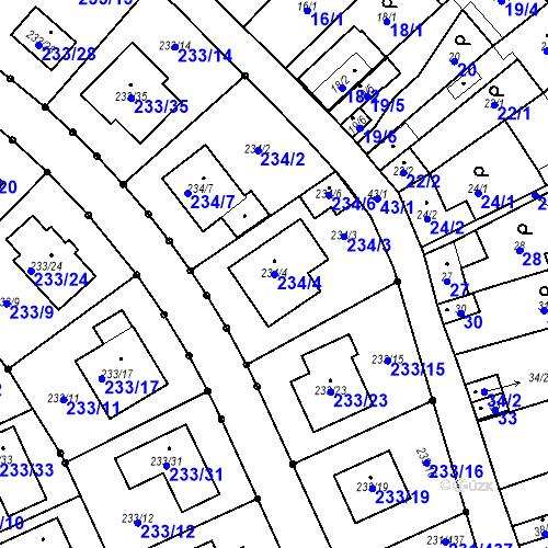 Katastrální mapa Parcela 234/4 na katastrálním území Helenín