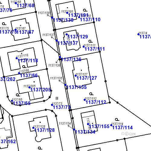 Katastrální mapa Parcela 1137/127 na katastrálním území Horní Kosov