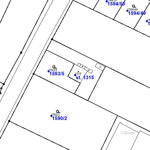 Katastrální mapa Parcela 1315 na katastrálním území Čáslav
