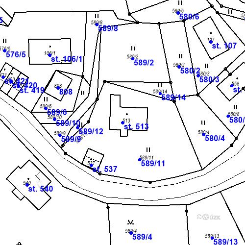 Katastrální mapa Parcela 513 na katastrálním území Bedřichov u Jablonce nad Nisou