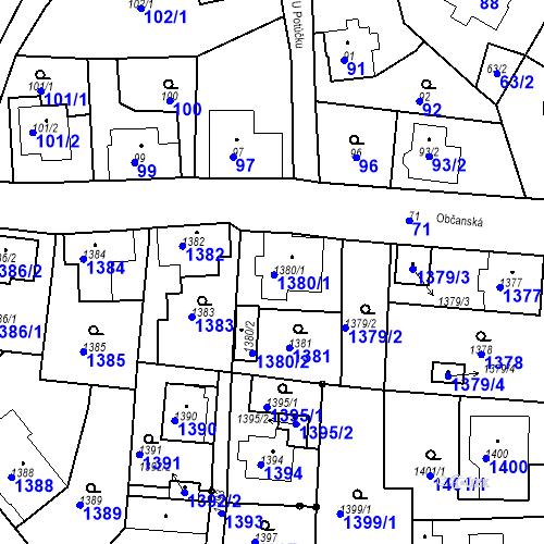 Katastrální mapa Parcela 1380/1 na katastrálním území Rychnov u Jablonce nad Nisou