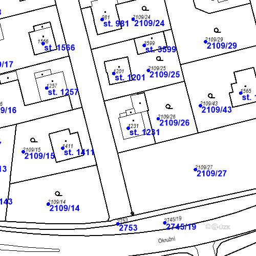 Katastrální mapa Parcela 1231 na katastrálním území Humpolec
