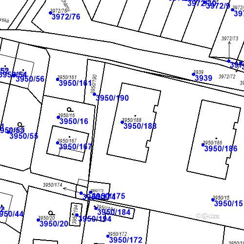 Katastrální mapa Parcela 3950/188 na katastrálním území Kutná Hora