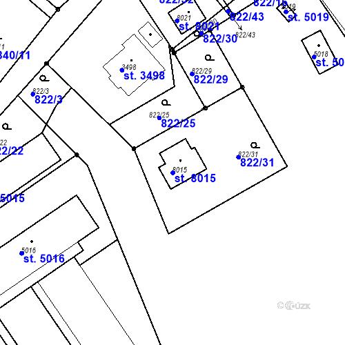 Katastrální mapa Parcela 8015 na katastrálním území Kolín
