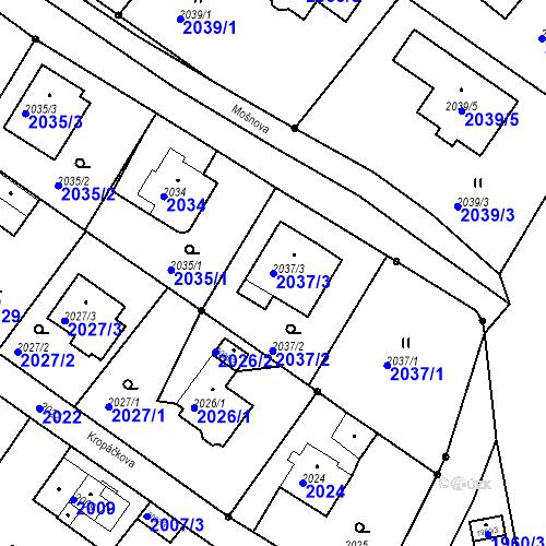 Katastrální mapa Parcela 2037/3 na katastrálním území Ruprechtice