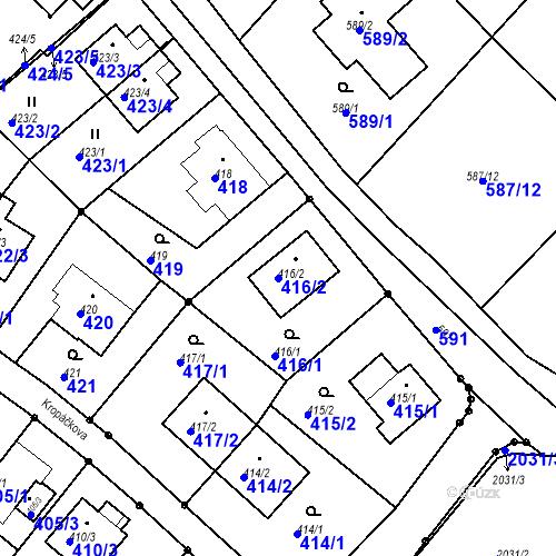 Katastrální mapa Parcela 416/2 na katastrálním území Ruprechtice