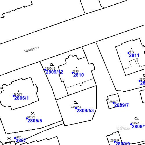 Katastrální mapa Parcela 2810 na katastrálním území Liberec