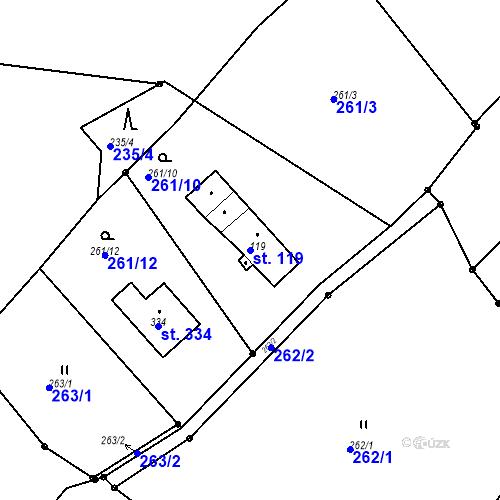 Katastrální mapa Parcela 119 na katastrálním území Radčice u Krásné Studánky