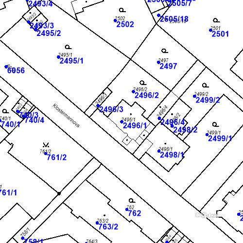 Katastrální mapa Parcela 2496/1 na katastrálním území Liberec