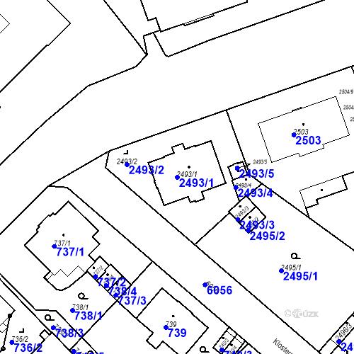 Katastrální mapa Parcela 2493/1 na katastrálním území Liberec