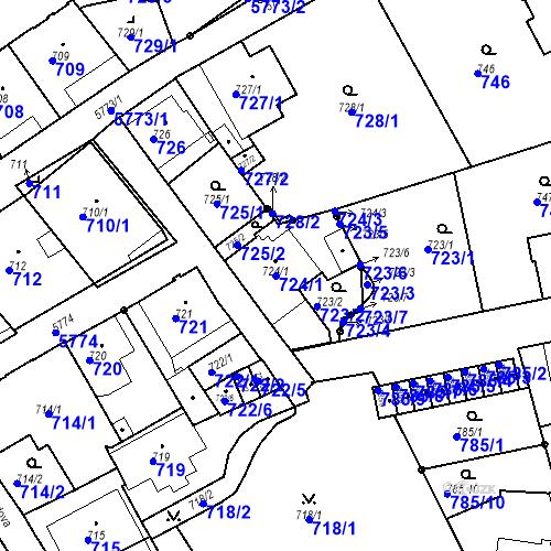 Katastrální mapa Parcela 724/1 na katastrálním území Liberec