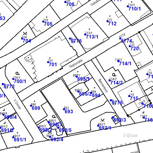 Katastrální mapa Parcela 695/1 na katastrálním území Liberec