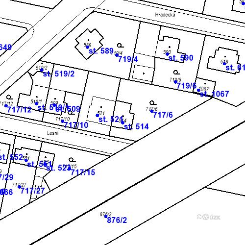Katastrální mapa Parcela 514 na katastrálním území Velký Osek