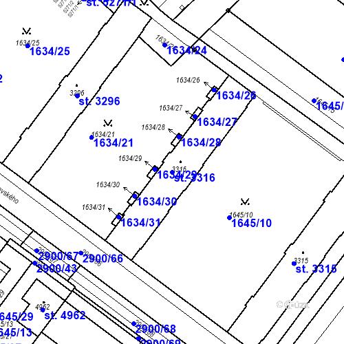 Katastrální mapa Parcela 3316 na katastrálním území Kolín