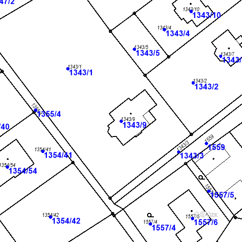 Katastrální mapa Parcela 1343/9 na katastrálním území Vesec u Liberce