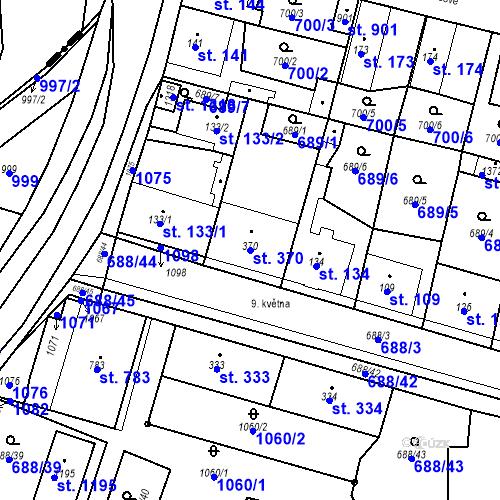 Katastrální mapa Parcela 370 na katastrálním území Velký Osek