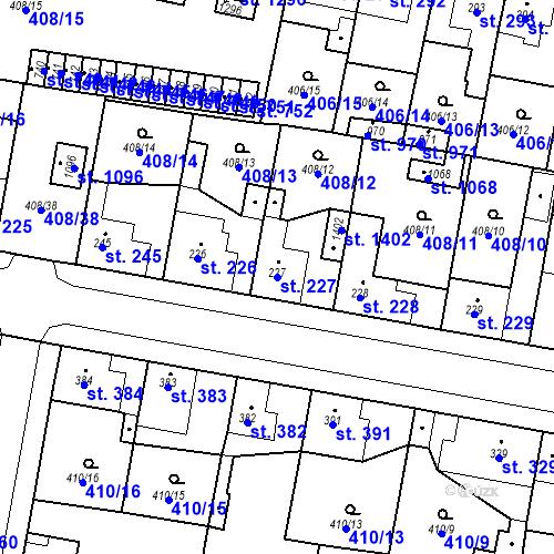 Katastrální mapa Parcela 227 na katastrálním území Velký Osek