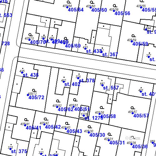 Katastrální mapa Parcela 378 na katastrálním území Velký Osek