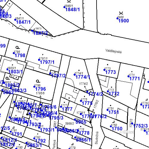 Katastrální mapa Parcela 1774/1 na katastrálním území Liberec