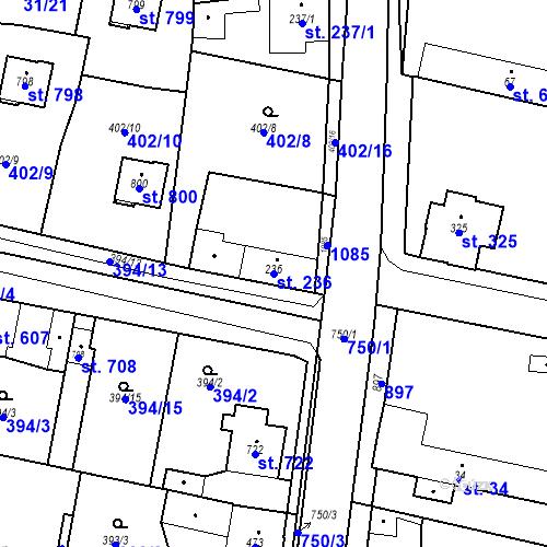 Katastrální mapa Parcela 236 na katastrálním území Velký Osek